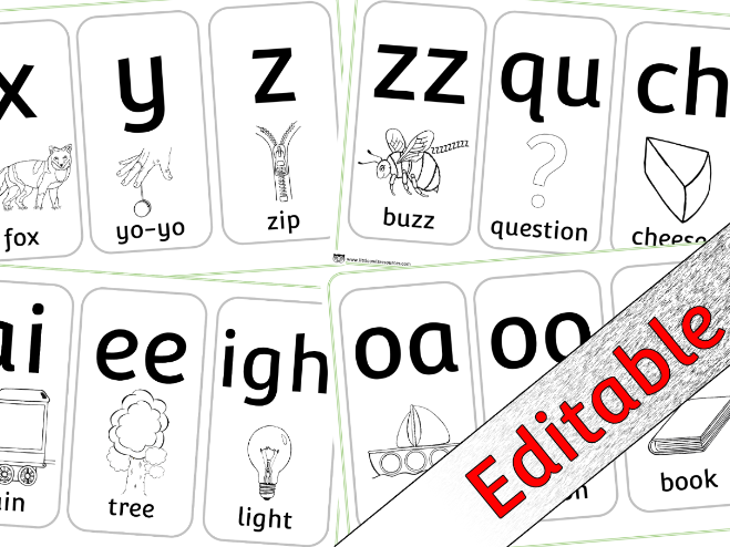 Phase 3 Phonics/Letters and Sounds - Colouring - Editable