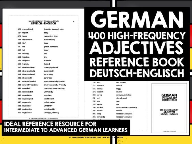 GERMAN ADJECTIVES REFERENCE BOOK #2
