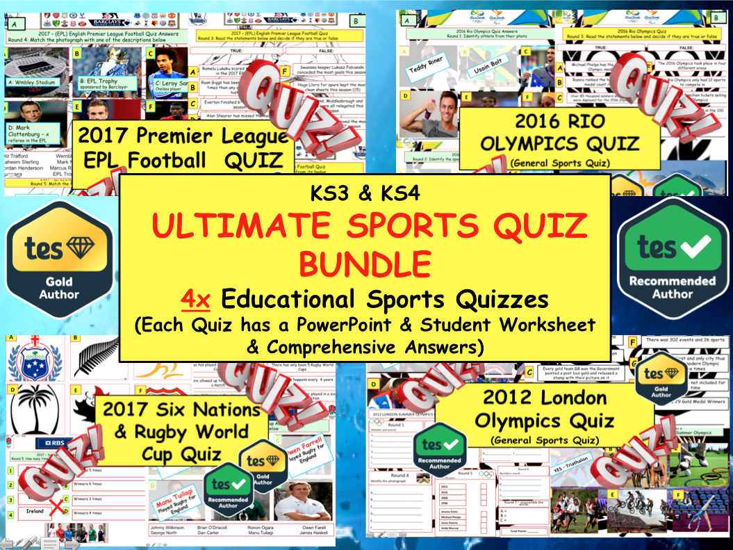 Ultimate Sports Quiz Bundle (Football, Olympics, Sports and Rugby) End of Term Quizzes
