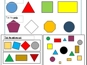 2D Shapes Differentiated Worksheets Year 1 (White Rose)