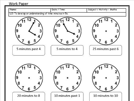 6 Editable Time Sheets - O'clock to 24 Hour Digital