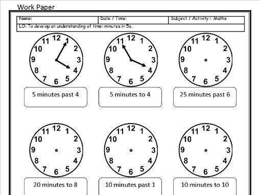 6 Editable Time Sheets - O'clock to 24 Hour Digital