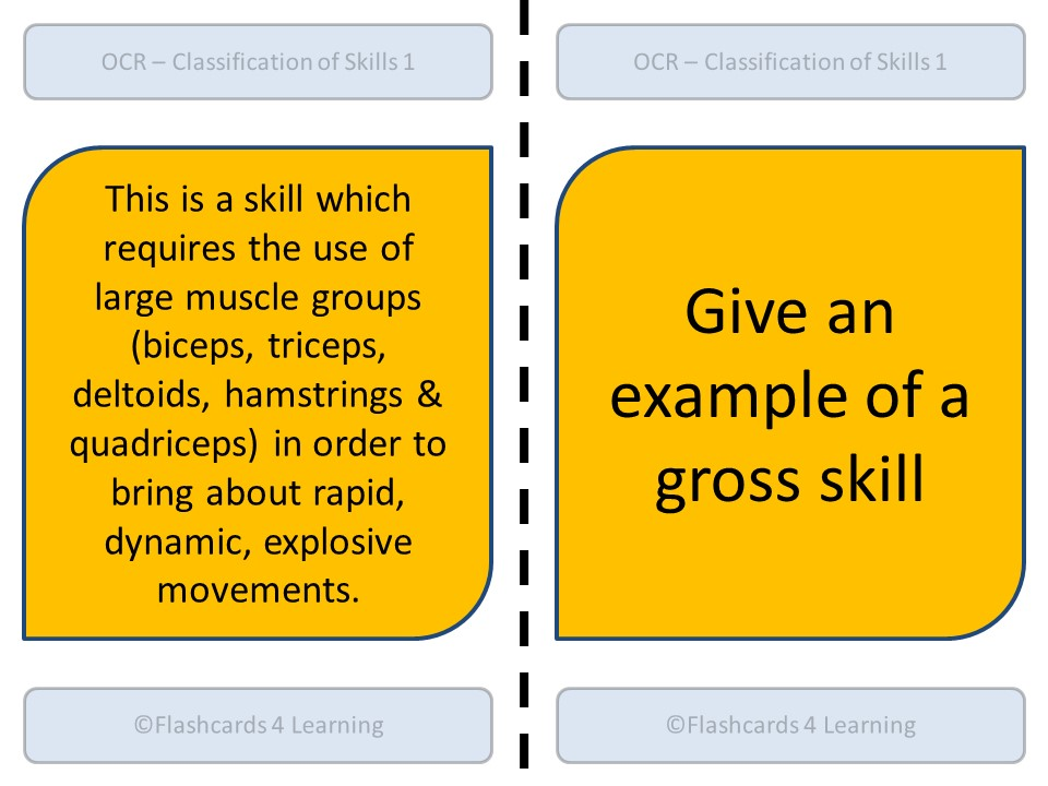 A Level PE (2016): OCR - Classification of Skill - Dominoes
