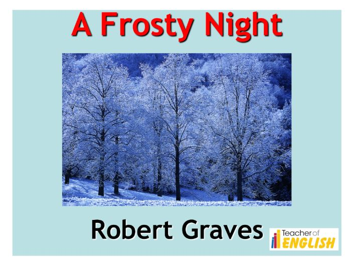 A Frosty Night by Robert Graves  (PowerPoint and worksheets)