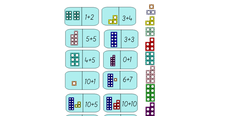 Numicon Dominoes Additon Facts to 20 and Whiteboard Activity