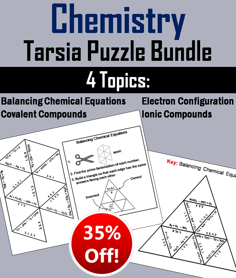 Chemistry: Science Tarsia Puzzle Bundle