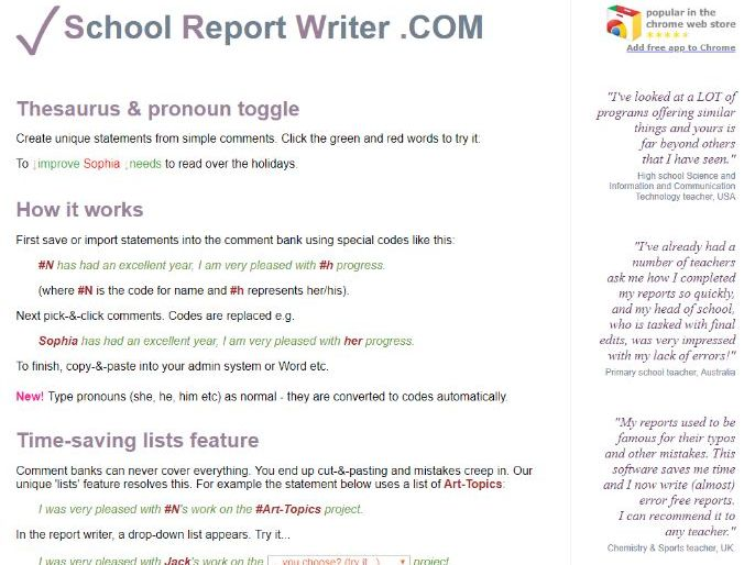 Report comments / report writer (free web app)