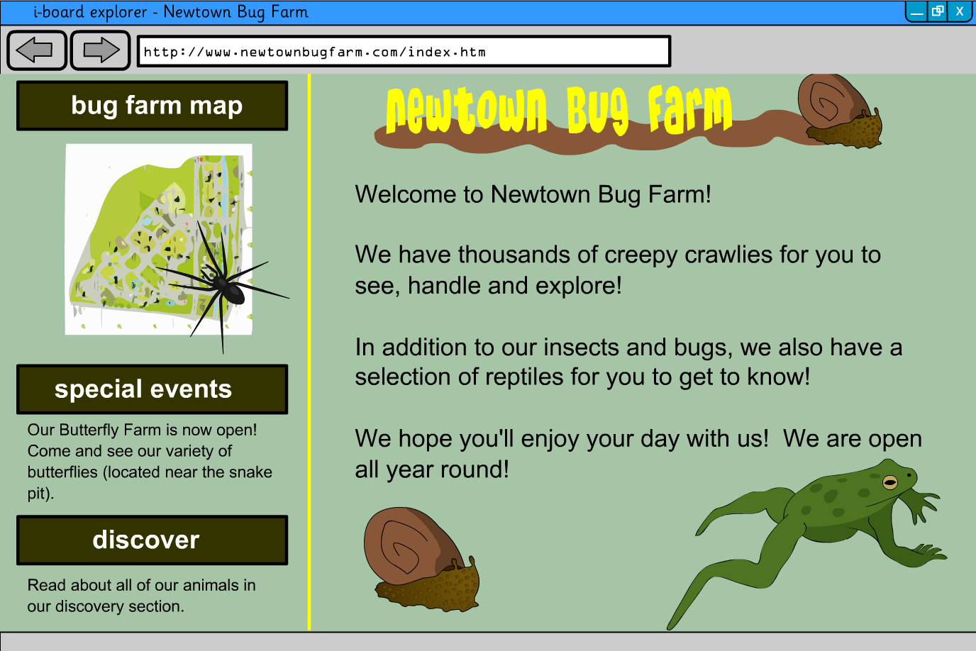 Interactive Information Website - Minibeasts, Reptiles ad Amphibians - KS2 Literacy