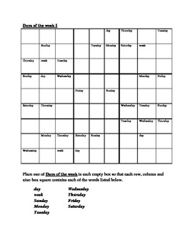 Days of the week in English Sudoku
