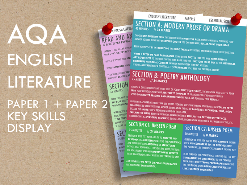 AQA English Literature, Paper 1 + Paper 2 Key Skills Display