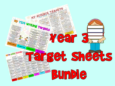 Child Friendly Year 3 Targets Sheets Bundle