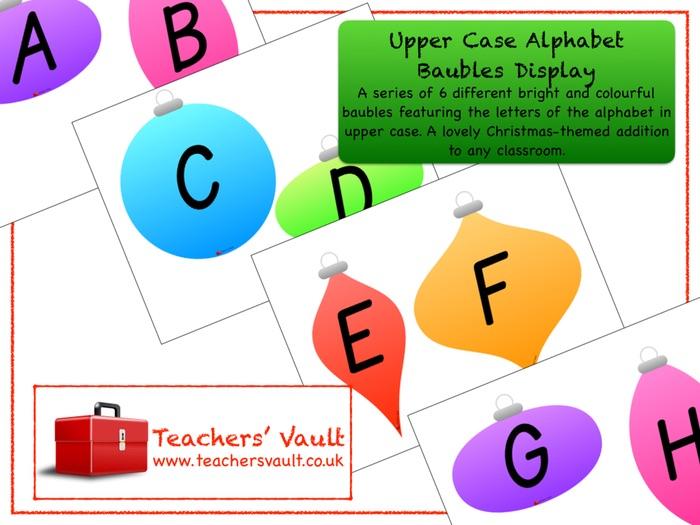 Upper Case Alphabet Baubles Display