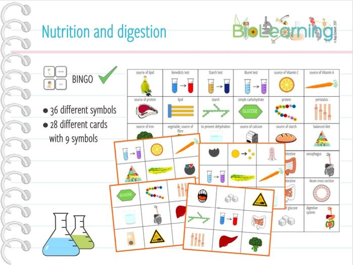 Nutrition and digestion - Bingo Cards (KS3/KS4)