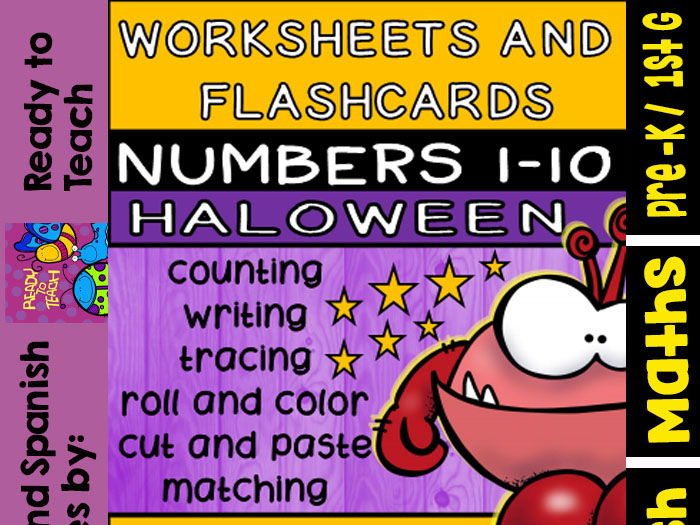 picture relating to Printable Numbers 1 10 Flashcards titled Halloween no-prep Printables and Flashcards (Quantities 1-10)