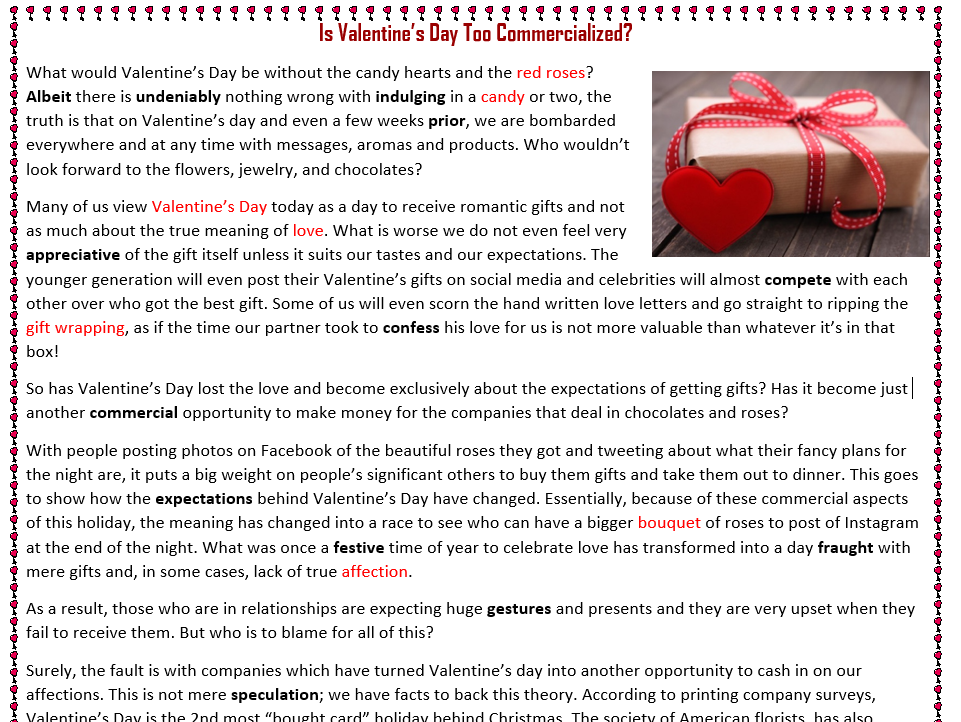 Is Valentine's Day Too Commercialized? - Reading Comprehension Text / Worksheet