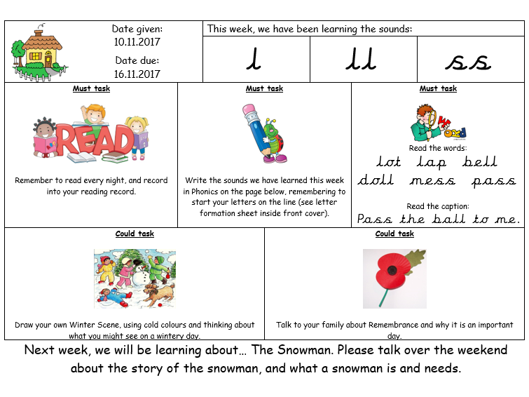 EYFS weekly homework sheets