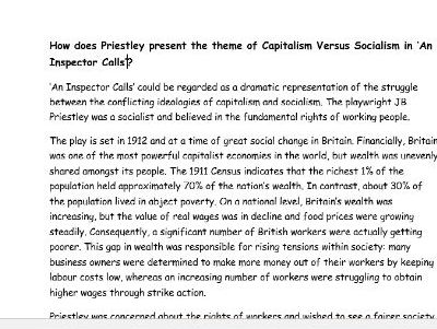 Capitalism and Socialism in An Inspector Calls