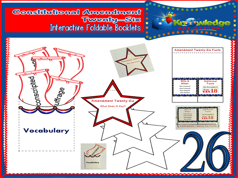 Constitutional Amendment Twenty-Six Interactive Foldable Booklets