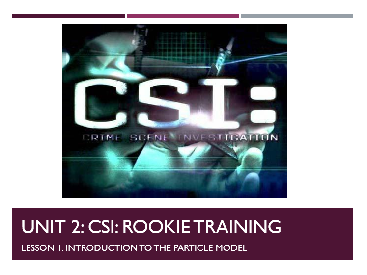 WHOLE TOPIC KS3 Year 7 / 8 Particle model / Separating mixtures CSI style