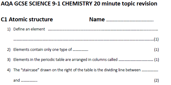 Atomic structure 20 minute recall