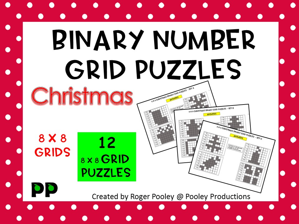 Christmas Binary Number 8x8 Grid Puzzles - 12 puzzles, no Prep, answers.