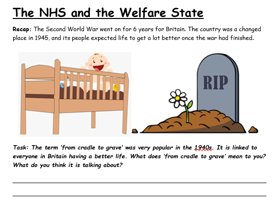 The NHS and the Welfare State: Work from home booklet