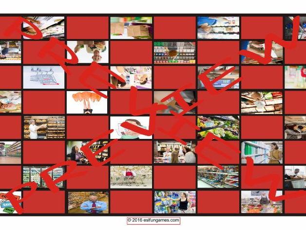 Shopping at Supermarkets Checker Board Game