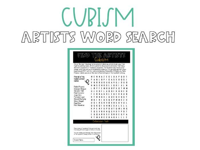 Cubism Word Search Worksheet