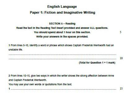 Edexcel English Language Paper 1-Persuasion by Jane Austen