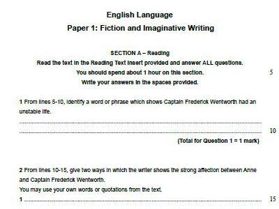 Edexcel English Language Paper 1-Persuasion by Jane Austen