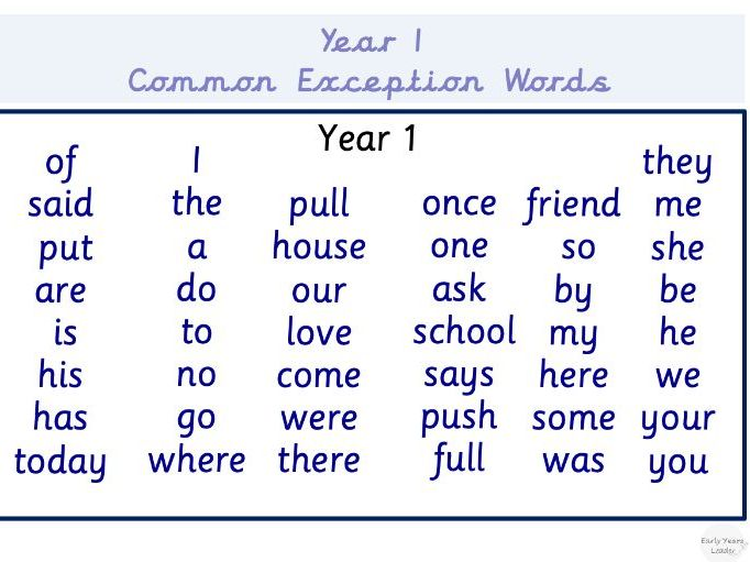 Year One Common Exception Word Mat Vocabulary Education Primary Age 5-6 Learning