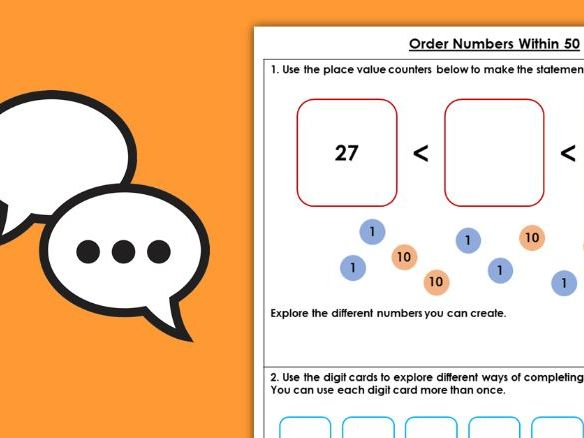 Year 1 Order Numbers Within 50 Spring Block 2 Maths Discussion Problems