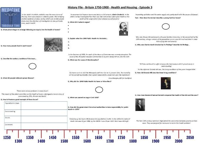 BBC History File - Britain 1750-1900 - Episode 3 - Health and Housing - Supporting Worksheet