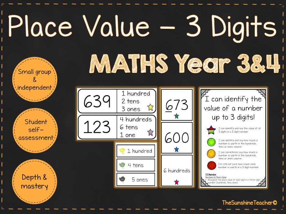 Place Value 3 Digits - Year 3&4 - Math - Place Value - 3 NO PREP Resources Bundle