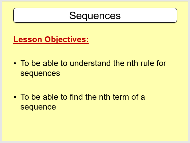 Introduction to Sequences - Set of 3 Lessons