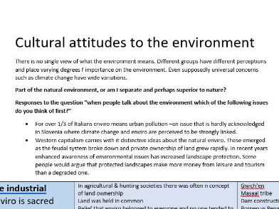 Cultural attitudes to the environment