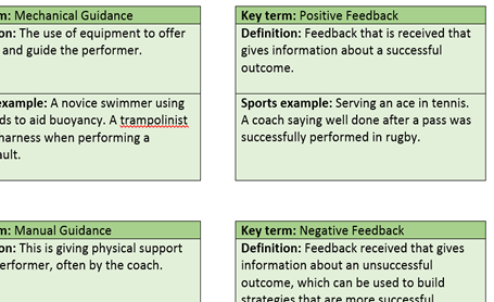 GCSE PE OCR 9-1 Sports Psychology revision flash cards