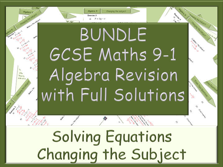 BUNDLE - GCSE algebra revision 9-1 - with Full Solutions