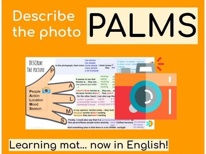 English photocard description PALMS Knowledge organiser
