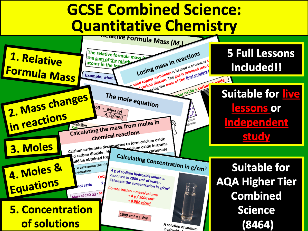 AQA GCSE Combined Science: Quantitative Chemistry  (Higher Tier)