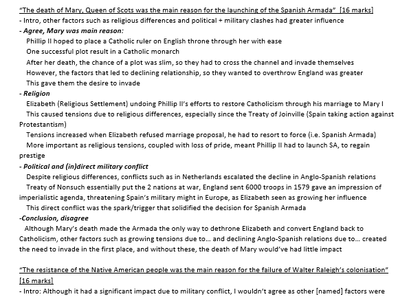 GCSE Edexcel History- Elizabethan Englands: 12 and 16marker planned answers
