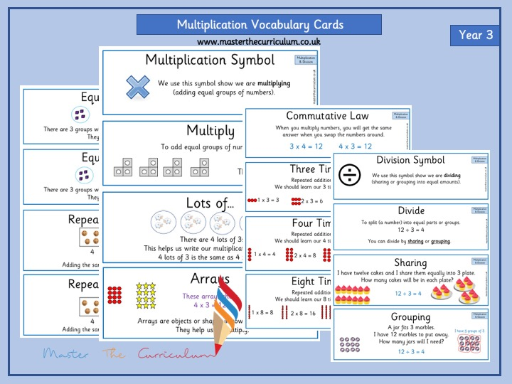 Year 3- Editable Multiplication and Division Vocabulary White Rose Style- Autumn