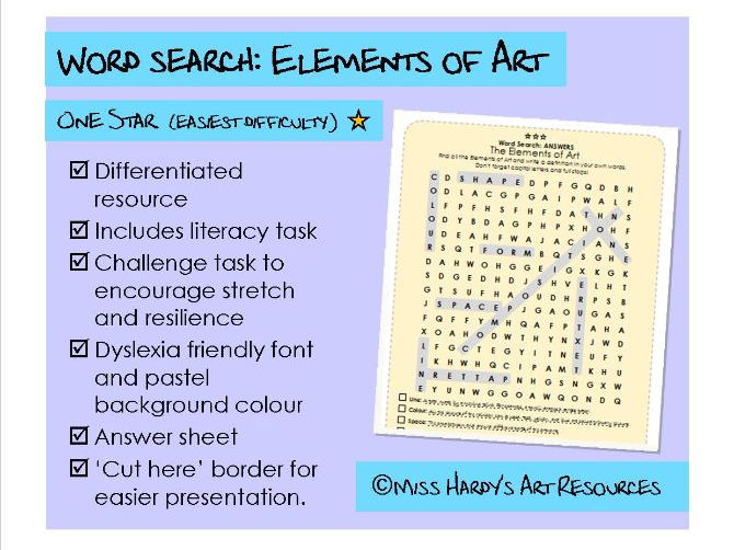 Art&Design - Elements of Art - Wordsearch - Easiest Difficulty - Starter/Plenary/Homework