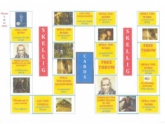 Skellig Spelling Board Game and Word Search Puzzles