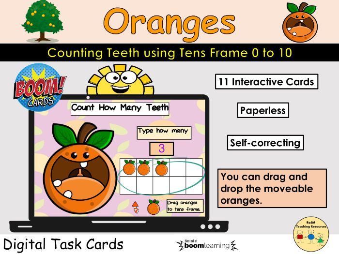 Counting 0 to 10 Oranges Teeth Fruit Tens Frame BOOM Cards™ Distance Home Learning