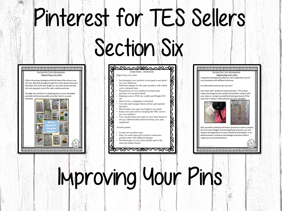 Pinterest for TES Sellers – Section Six: Improving Your Pins
