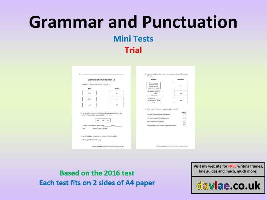 Grammar and Punctuation Mini-Tests based on 2016 Questions Trial Version