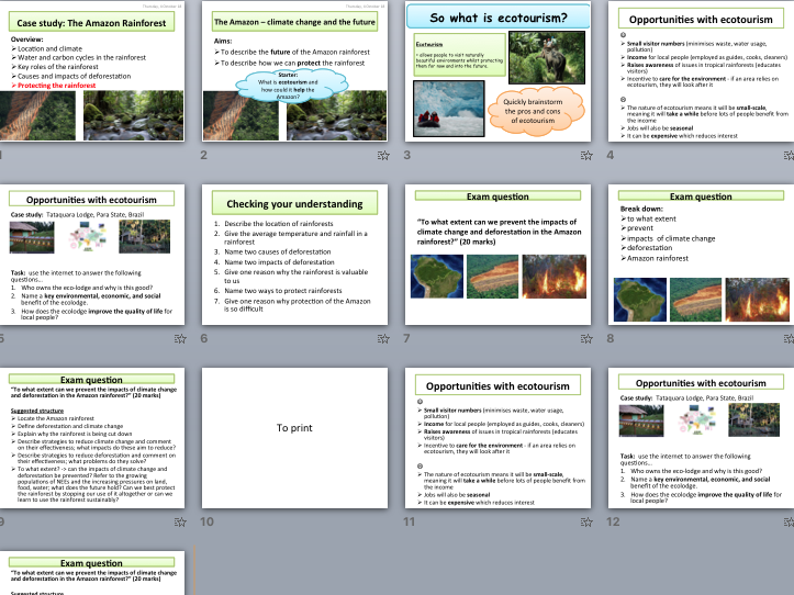 AQA A Level Climate Change Case Study - The Amazon (ecotourism)