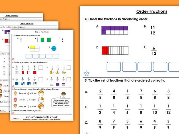 Grade 4 Math Worksheets: Ordering three fractions | K5 Learning