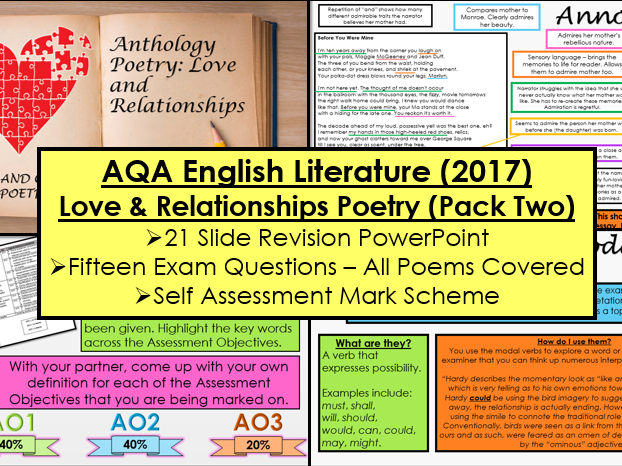 English Literature Paper 2: Love and Relationships Poetry Revision Pack 2 (AQA, 9-1 GCSE)